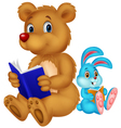 Cartoon bear and rabbit reading book vector image vector image