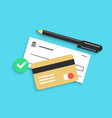 bank check pen and credit card with shadow vector image