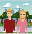 couple young in the park with urban background vector image