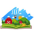 farm scene with barns and balloon in the book vector image