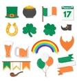 March 17 Saint Patricks Day elements set vector image