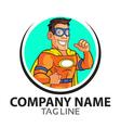 Orange Superhero Cartoon Logo vector image