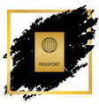 passport sign golden icon at vector image