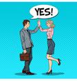 Pop Art Businessman Giving High Five to Partner vector image