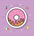 sweet donut dessert bakery food delicious vector image