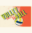volleyball typographical vintage style poster vector image