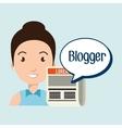 woman cartoon blogger web vector image
