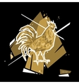 Golden Rooster Symbol 2017 Polygon style vector image vector image