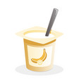 banana yogurt with spoon inside on white vector image