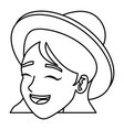 cartoon face woman happy laughing image vector image