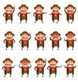 set of flat cowboy icons vector image