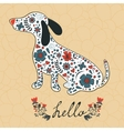 oncept hello card with floral badger dog vector image