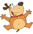 Happy Fat Dog Jumping vector image vector image