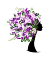 Woman head with floral hairstyle for your design vector image vector image