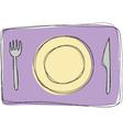 Dinner plate knife and fork vector image