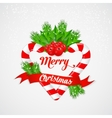 Christmas candy cane with holly and red ribbon vector image