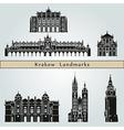 Krakow landmarks and monuments vector image