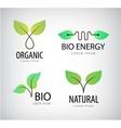set of green leaves eco bio logos natural vector image