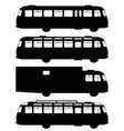 black silhouettes of old buses vector image