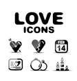 Love glossy icon set vector image