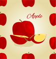 Seamless texture red apple fruit vector image
