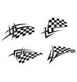Tribal tattoo with racing flag vector image
