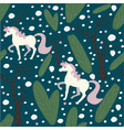 unicorn seamless pattern green background with vector image