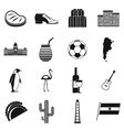 Argentina travel items icons set simple style vector image