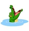 Crocodile cartoon open its mouth vector image