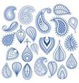 Oriental leaf doodles vector image