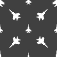 fighter icon sign Seamless pattern on a gray vector image