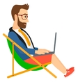 Businessman sitting in chaise lounge with laptop vector image