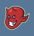 Red Devil Boy Head In Retro Color vector image