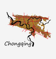 flat chongqing city map simple flat concept for vector image