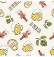 Glass of beer hop and crayfish seamless pattern vector image