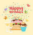 muffin cake and champagne birthday card vector image