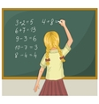Schoolgirl resolves writes on blackboard eps10 vector image