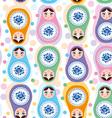 Seamless pattern Russian dolls Blue green purple vector image