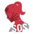 SOS Violence against women vector image