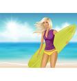 Girl with surfboard vector image