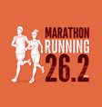 man and woman running together with text marathon vector image