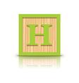 letter H wooden alphabet block vector image