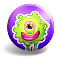 Monster with one eye on badge vector image vector image