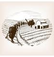 Farm landscape sketch style vector image