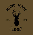 Hipster logo with head of deer vector image