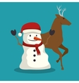 happy merry christmas snowman character vector image