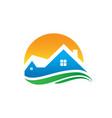 home sunset wave logo image vector image