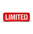 limited red 3d square button isolated on white vector image