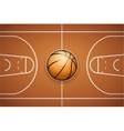 Poster Template of Basketball Ball and field vector image