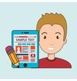man cartoon smartphone sample test vector image